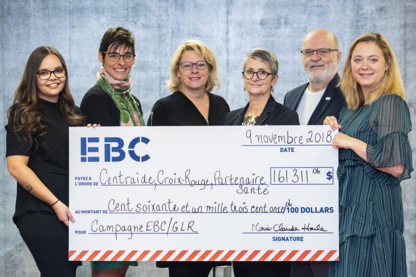 Générosité d'EBC envers trois organismes