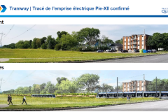 Le tracé du tramway reste sur l'emprise derrière Pie-XII