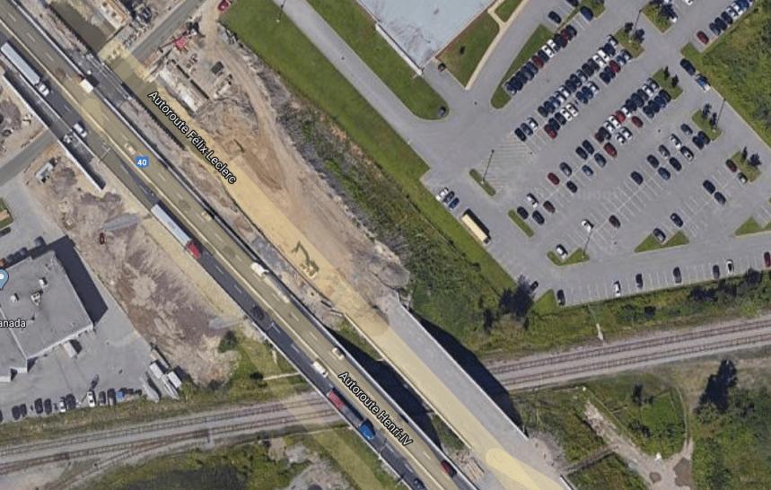 Démolition du pont d'étagement du chemin de fer Québec-Gatineau