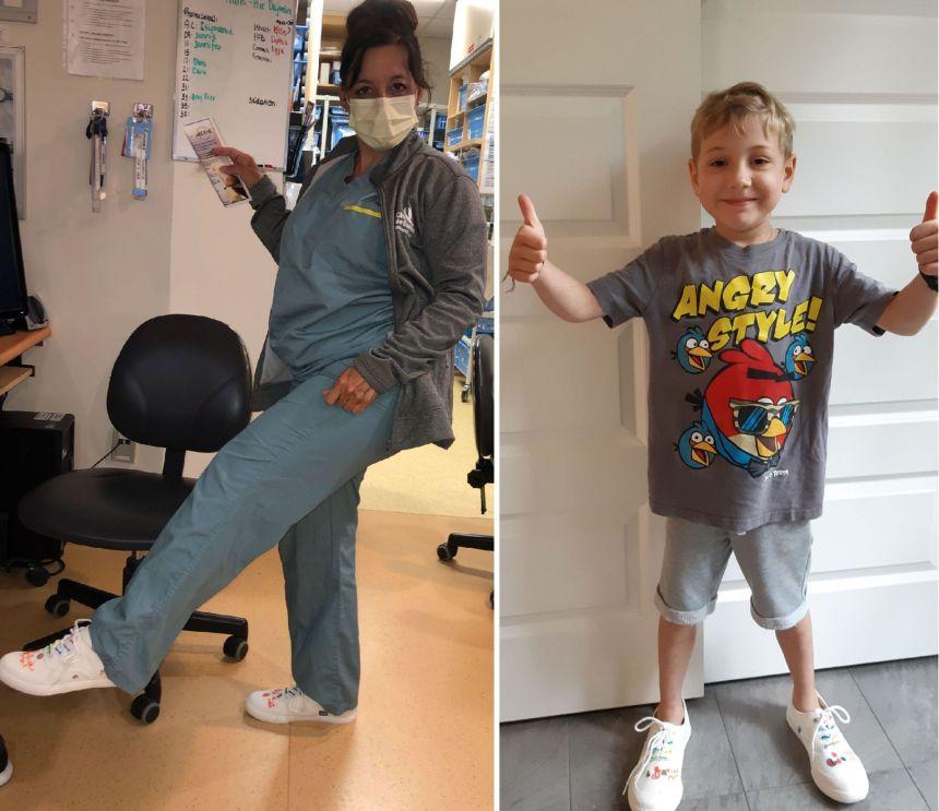 Mathis remercie son infirmière avec des chaussures