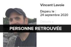 Vincent Lavoie retrouvé