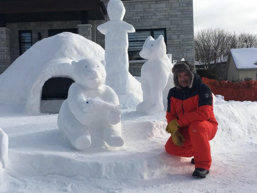 Igloo, sculptures sur neige et 5 à 7 pour Steeve Larouche et sa famille
