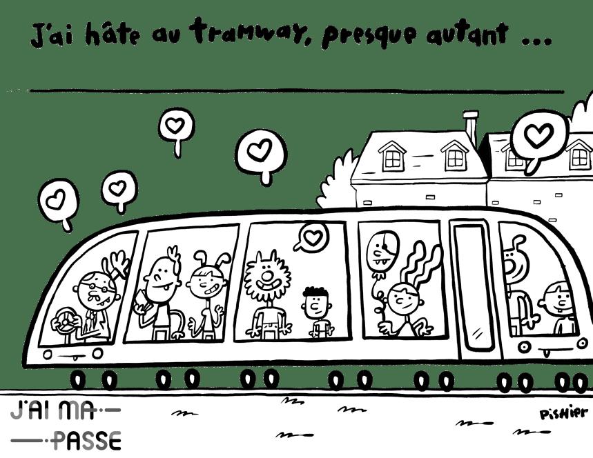 Le groupe «J'ai ma passe» a hâte d'embarquer dans le tramway
