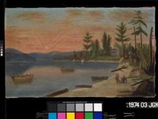 Zacharie Vincent - Le Lac Saint-Charles vers 1860 - Huile sur toile, 45 x 76,2 cm - Collection du Musée national des beaux-arts du Québec Achat (1974.03) - Photographe : MNBAQ, Jean-Guy Kérouac