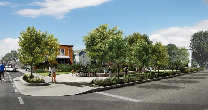 Boulevard urbain et espaces verts au coeur du pôle Hamel-Laurentienne