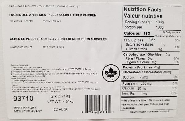 Rappel de cubes de poulet entièrement cuits surgelés