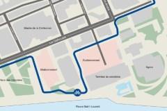 Nouveau tracé proposé pour la piste cyclable sur Dalhousie